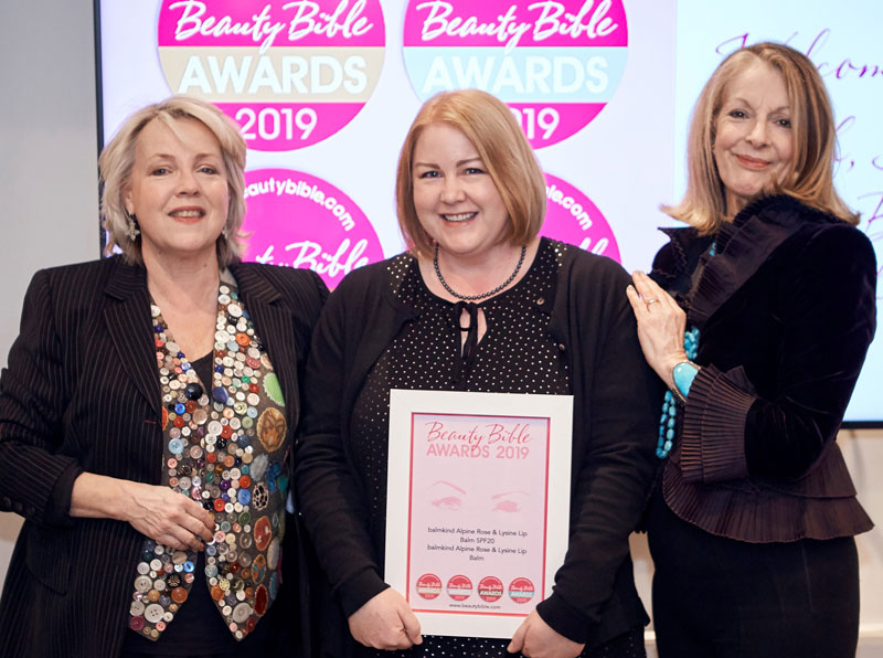 Leesa Bridson Balmkind winning the Beauty Bible Awards