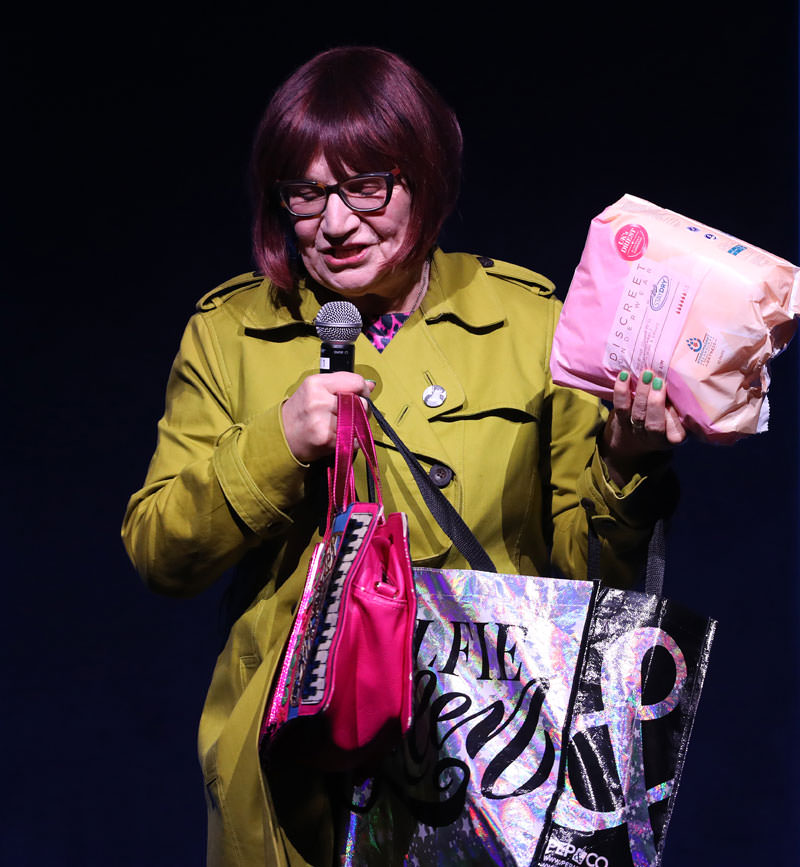 Barbara Nice appearing at the Boot Staydry Comedy Evening talking about female incontinence